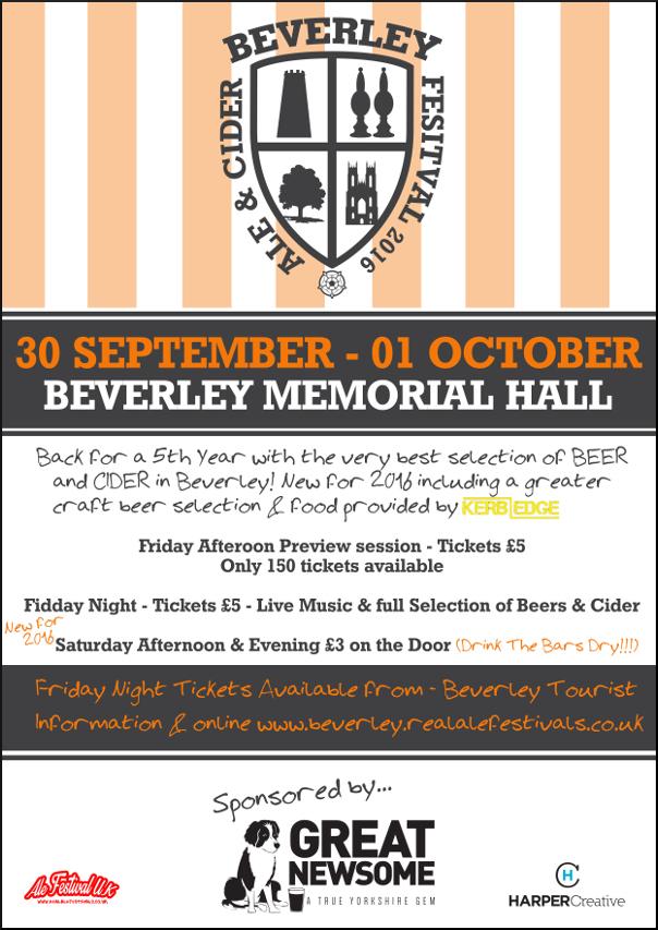 Beverley Beer, Real Ale & Cider Festival 2016 poster