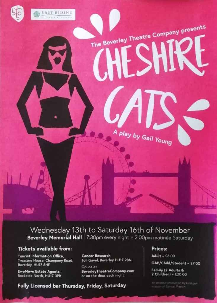 Cheshire Cats Poster. A play by the Beverley Theatre Company, 13th to 16th November 2019