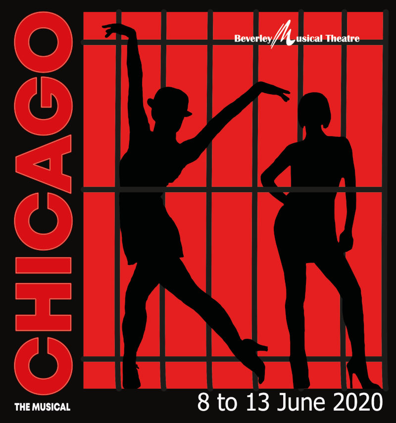 poster: Chicago, The Musical, In Beverley, June 8th-13th 2020. image: red background with two female dancers in silhouette behind jail bars.