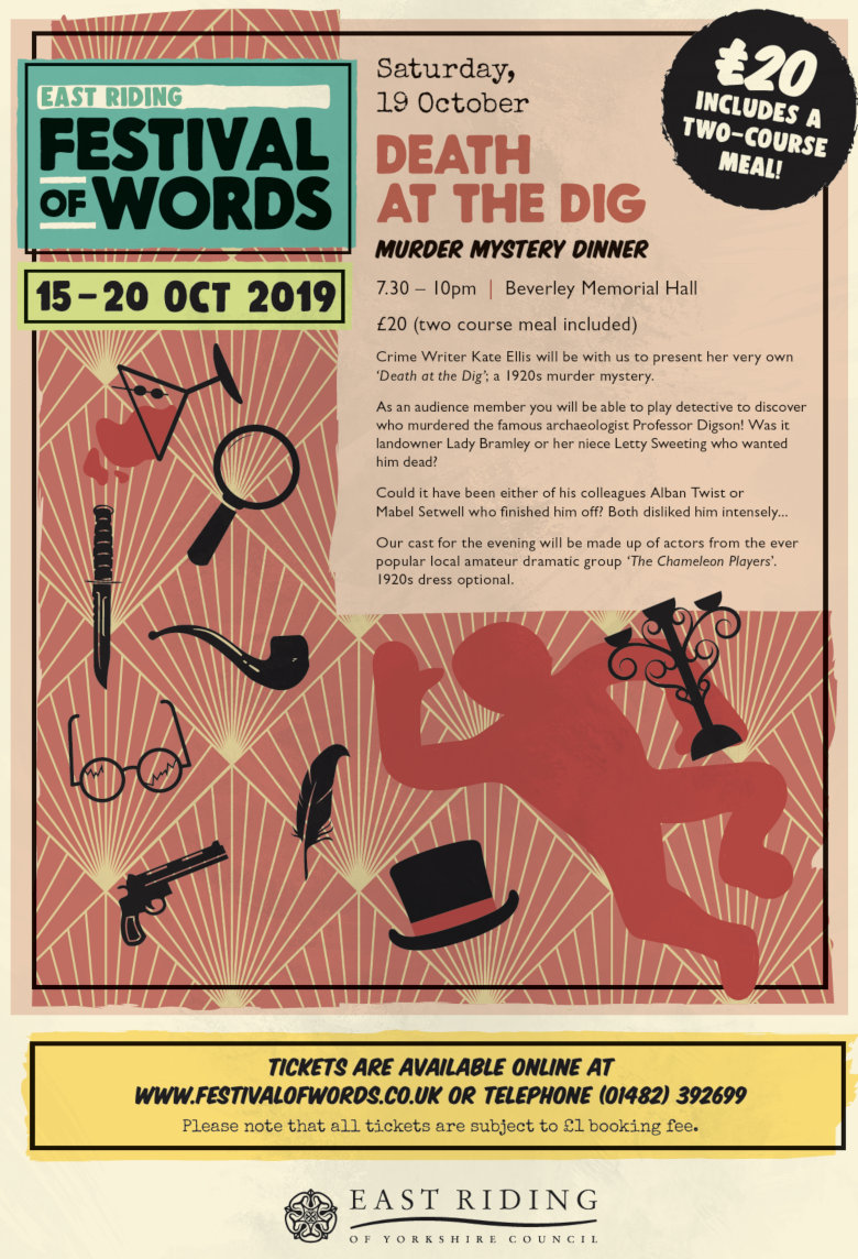 "poster for Murder Mystery Dinner ""Death At The Dig"" 19th October 2019 at 7:30 pm."