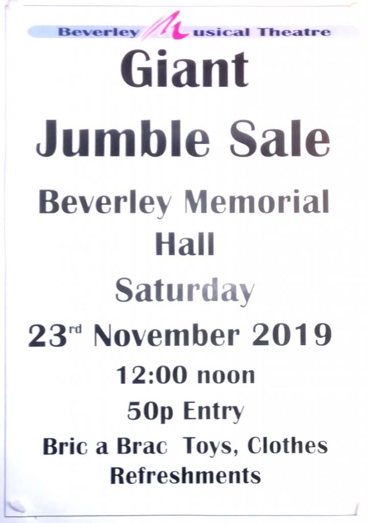 poster: Giant Jumble Sale, Beverley. Saturday 23rd November 2019 at 12 o'clock noon. 50 p entry. bric-a-brac, toys, clothes.
