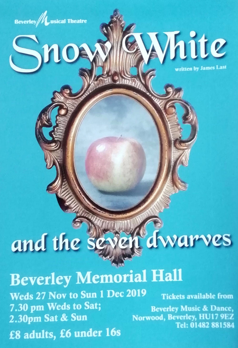 pantomime: Snow White and the Seven Dwarves, at Beverley Memorial Hall, November 2019.