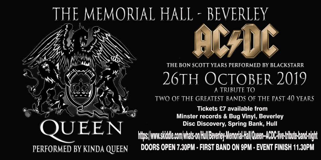 AC/DC and QUEEN tributes coming to Beverley Memorial Hall, 26th October 2019. BlackStarr & Kinda Queen.