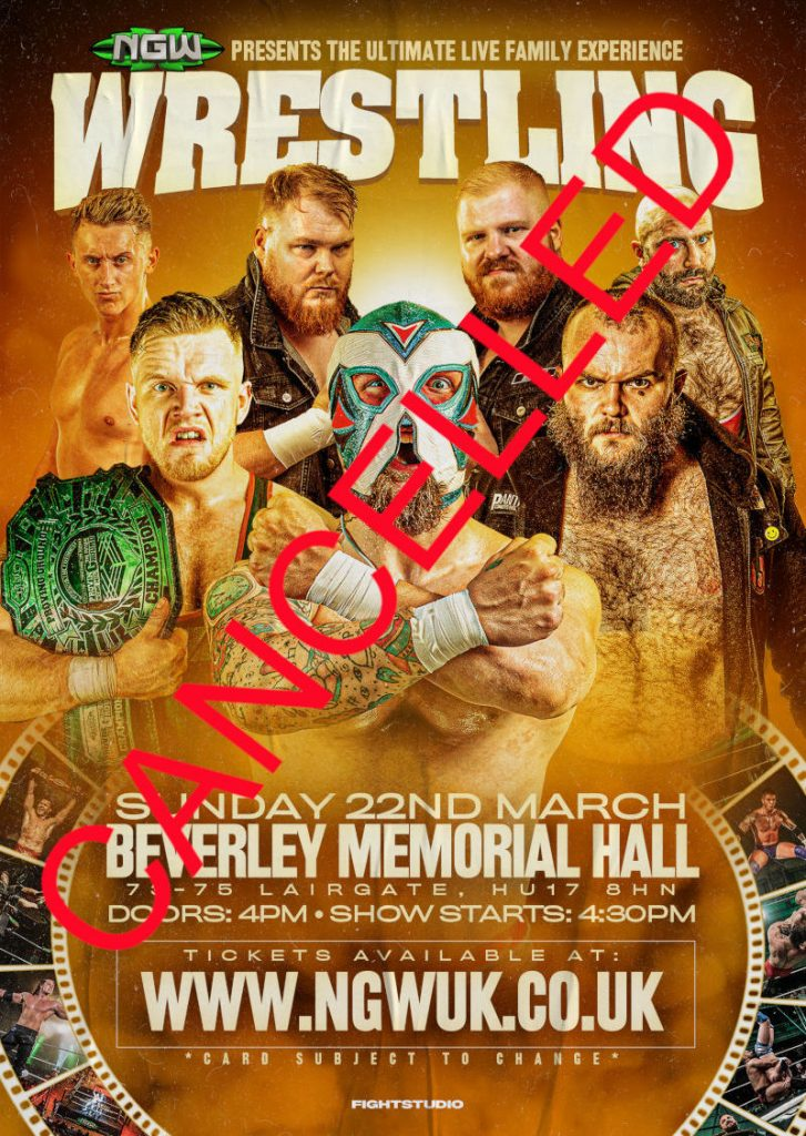 poster: Wrestling in Beverley. Sunday 22nd March 2020, 4.00 pm. - CANCELLED